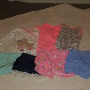 Lot of 7 newborn, 0/3 month girl clothes